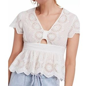 Free People Truly Yours Cut Out Eyelet Detail Top